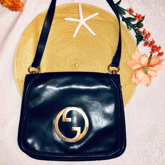 f3d620ad4fb7c Gucci Vintage 🌟Blondie' Blue-Black🌟Leather Bag